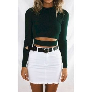 White Jean Mini Skirt